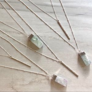 Double Layered Raw Crystal Necklace